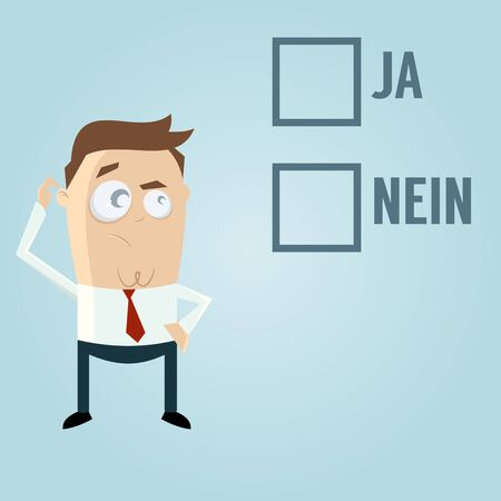 ruminate: businessman with check boxes in German meaning yes or no Illustration