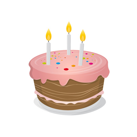 孤立した誕生日ケーキのイラスト