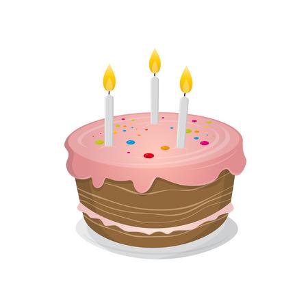 geïsoleerde verjaardagstaart illustratie Stock Illustratie