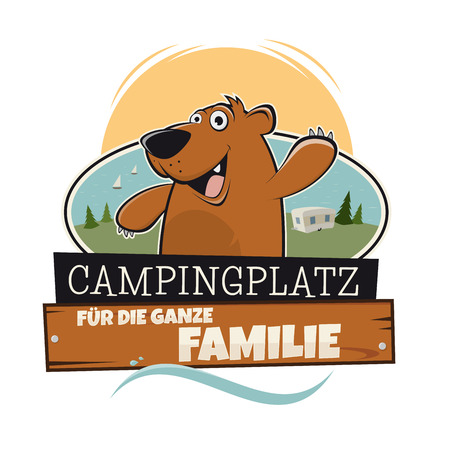 campsite: funny cartoon bear on campsite with a german sign that means camping for the whole family Illustration