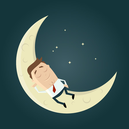 man on the moon: cartoon man sleeping on the moon