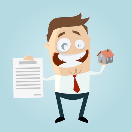 contratos: agente inmobiliario divertido con la casa y contrato Vectores