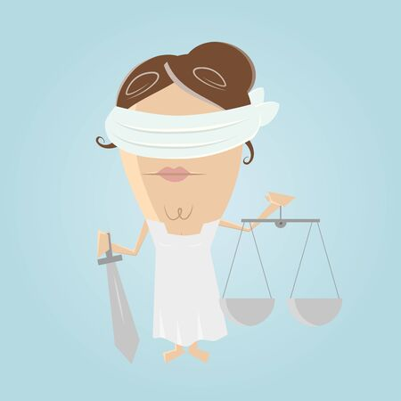 the righteous: funny justitia illustration