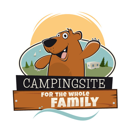 campsite: funny cartoon bear with campsite sign for the whole family