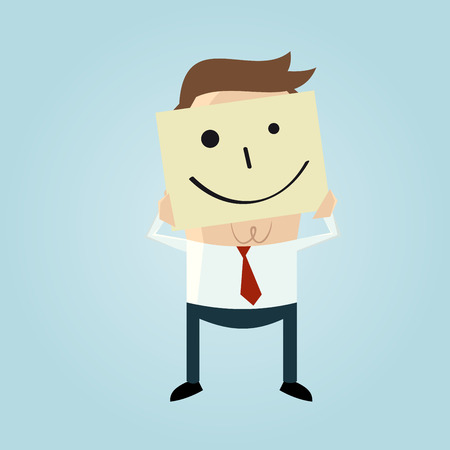 stickies: cartoon businessman hiding his face behind a smiley face doodle Illustration