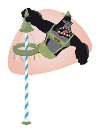 bavarian: funny bavarian cartoon gorilla