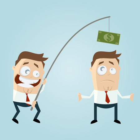 angling rod: funny businessman with money on fishing rod