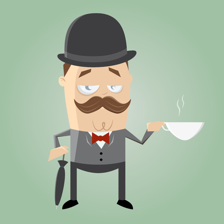 derby hat: british man with cup of tea Illustration