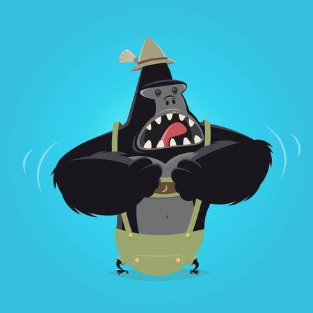 bavarian: funny cartoon gorilla in bavarian lederhosen