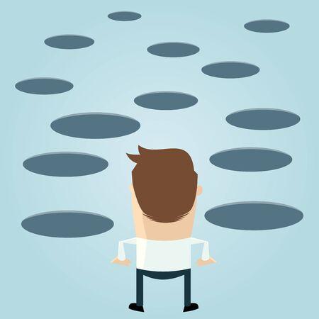 holes: funny cartoon man looking at holes