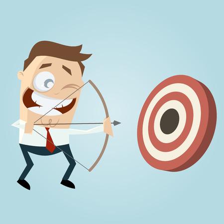 bullseye: modern businessman with archery bow