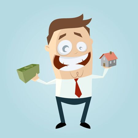 financing: funny businessman with house and money Illustration