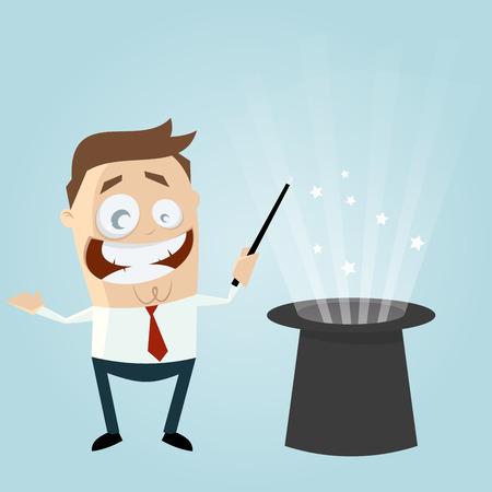 magician wand: funny cartoon magician