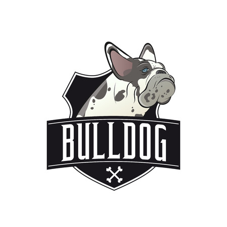 french bulldog: french bulldog with banner and shield Illustration