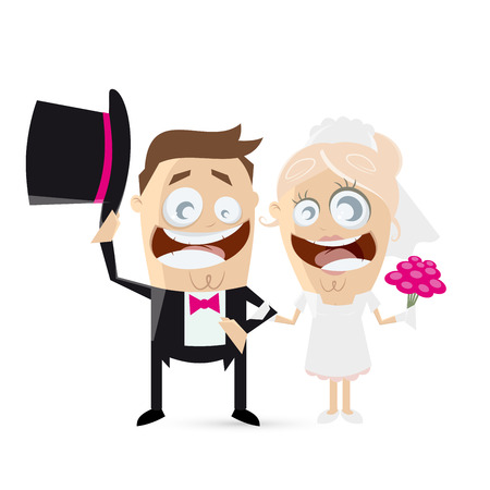 bride bouquet: funny cartoon wedding couple