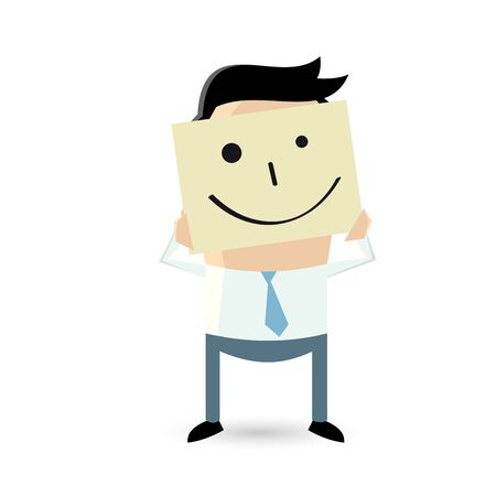 lucky man: businessman is holding happy face sketch