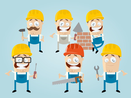 funny cartoon construction worker team 向量圖像
