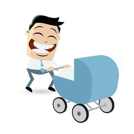 funny cartoon man with pram Ilustração Vetorial