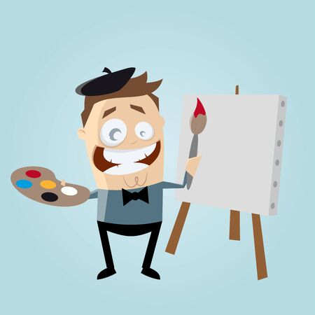artists: funny cartoon painter with blank canvas Illustration
