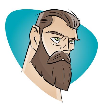 ひげと怒っている漫画男
