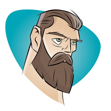 beard man: angry cartoon man with beard
