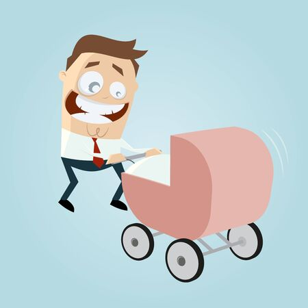 paternity: happy father with pram, baby carriage, baby buggy