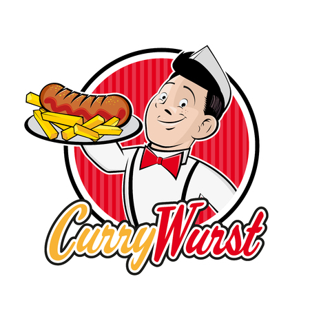 retro cartoon man with german currywurst in a badge