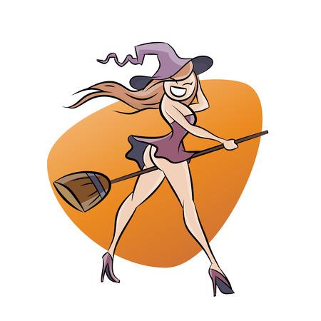brujas caricatura: bruja divertidos dibujos animados