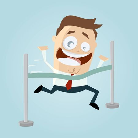 finishing line: funny cartoon man reaching finishing line