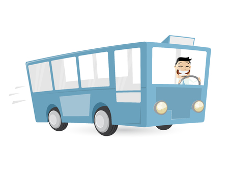 happy driver: cartoon man is driving a bus