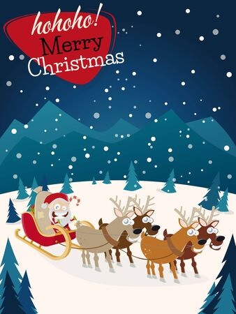ho: funny christmas background with santa claus and reindeers