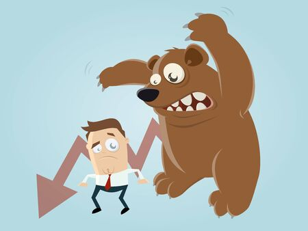 recession: funny recession cartoon with man and bear
