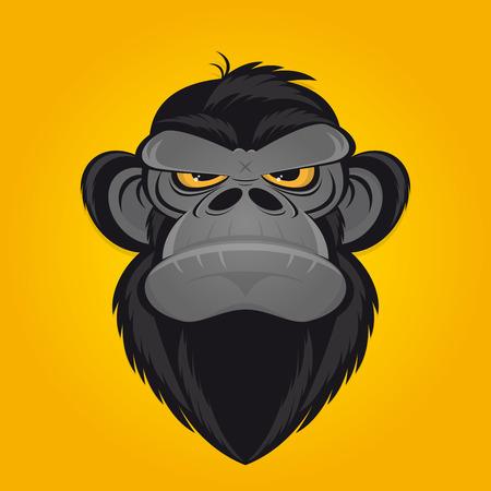 de dibujos animados mono enojado