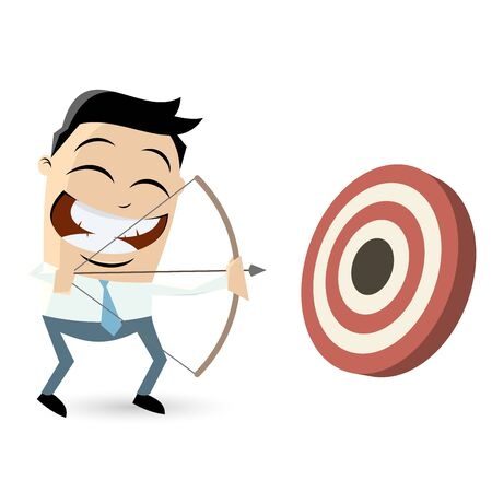 funny pictures: funny archery cartoon man Illustration