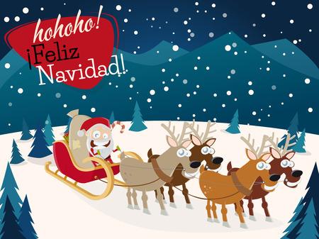 Spanish christmas greetings feliz navidad with santa claus and spanish christmas greetings feliz navidad with santa claus and reindeers stock vector 51111656 m4hsunfo