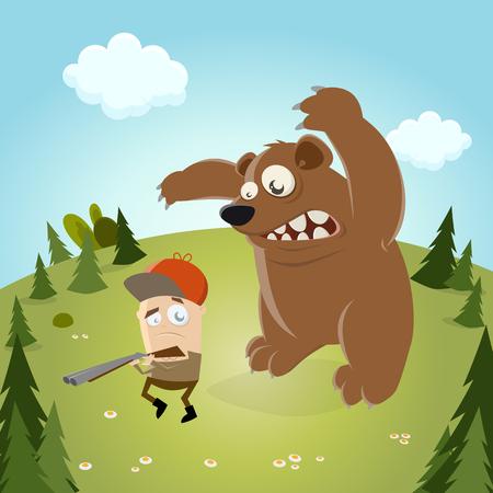 the hunter: cazador de divertidos dibujos animados con el oso en el fondo