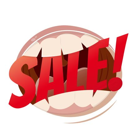 amuse: funny cartoon mouth with word sale