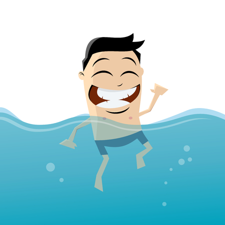 to beckon: funny cartoon man is swimming