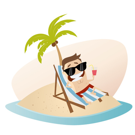 lounger: funny cartoon man with lounger on an island