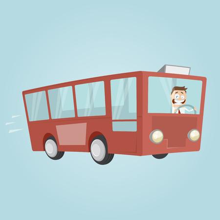 Hombre divertido de la historieta está conduciendo un autobús Ilustración de vector