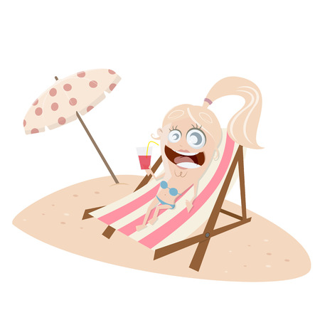 lounger: funny cartoon girl on lounger