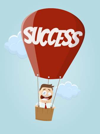 funny businessman in balloon with  success