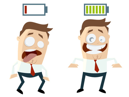 comparing: funny businessmen with batteries over their heads Illustration