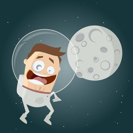 hover: funny cartoon astronaut and the moon