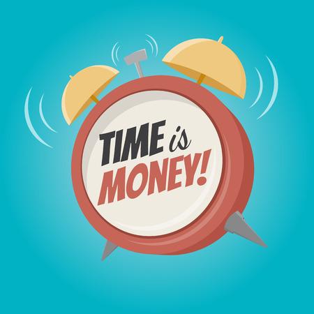 time money: time is money cartoon alarm clock