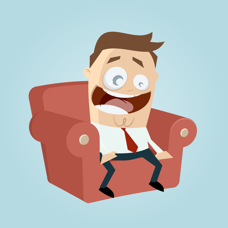 thrilling: funny cartoon man on couch is excited