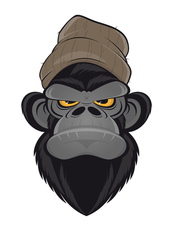 sullen: angry ape with hat