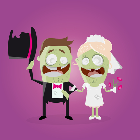 bride and groom illustration: funny zombie wedding couple
