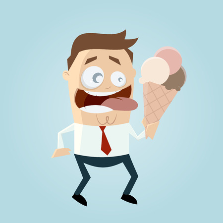 licking: funny cartoon man is licking ice cream Illustration