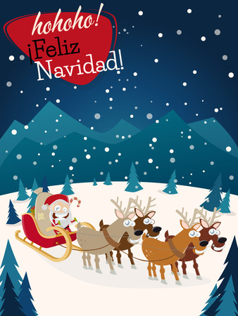 Spanish christmas greetings feliz navidad with santa claus and spanish christmas greetings feliz navidad with santa claus and reindeers stock vector 50678593 m4hsunfo